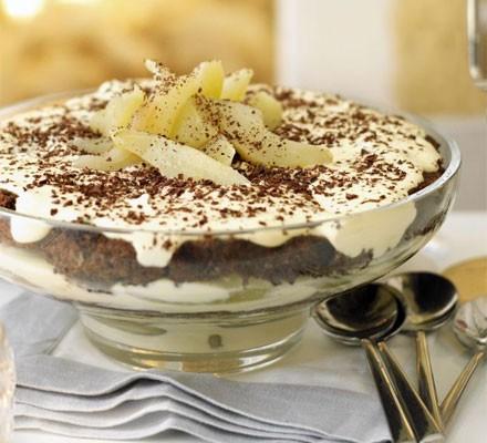 Christmas pear & chocolate tiramisu trifle