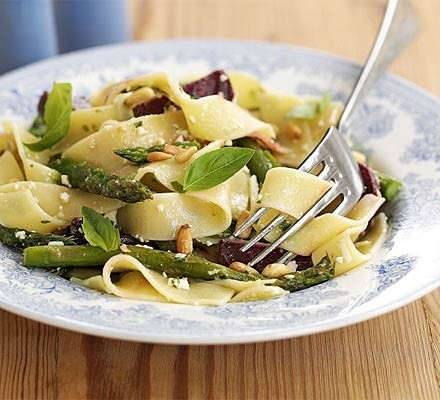 Roast veg pasta with Cheshire pesto