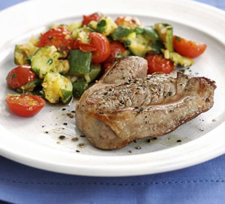 Lamb steaks with tomato & courgette crush