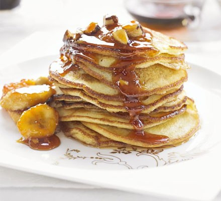 Baby buttermilk pancakes with sticky bananas & Brazils