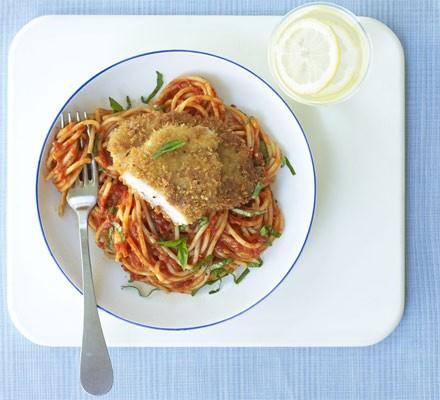 Pork Milanese with spaghetti