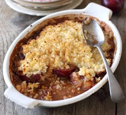 Rice pudding & spiced plum bake