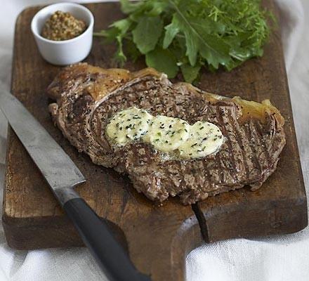 Horseradish butter steaks