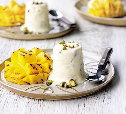 Rosewater & pistachio kulfi with griddled mangoes