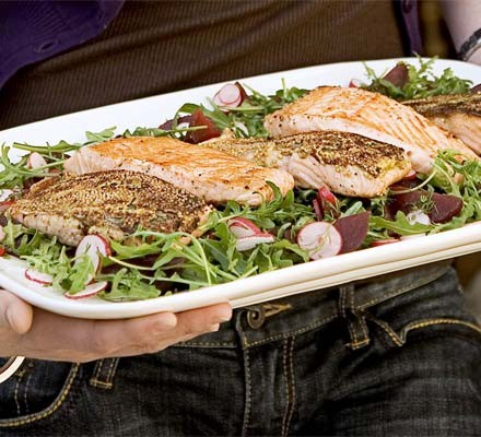 Mustard crust salmon with beetroot & dill