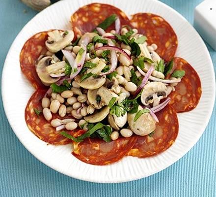 Garlicky bean salad with chorizo