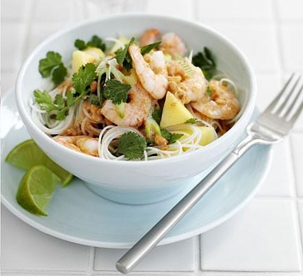 Prawn rice noodle salad