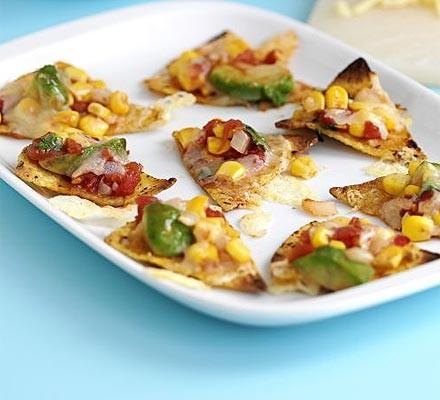 Anytime sweetcorn & tomato nachos