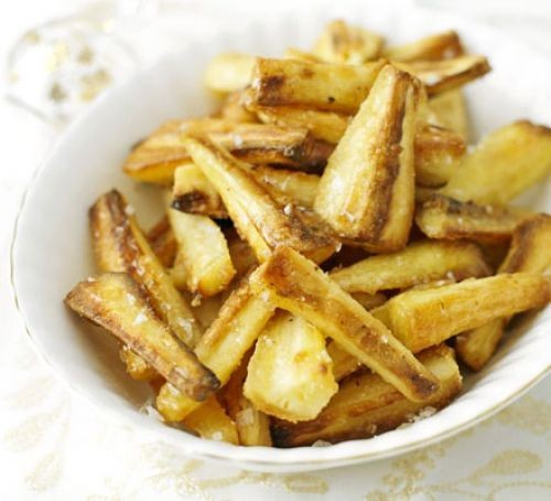 Roasted parsnips in bowl