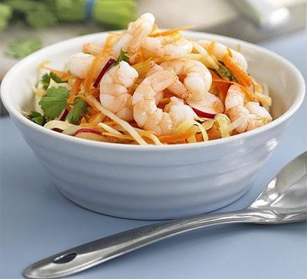No-cook Asian prawn coleslaw