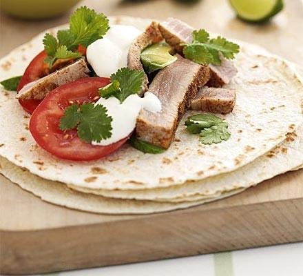 Fresh tuna tortillas
