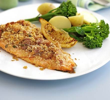 Trout with crisp bacon crust