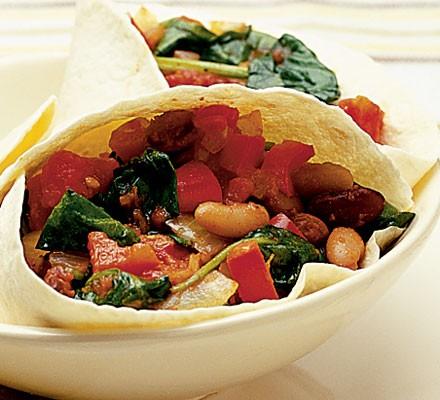 Spinach & tomato tortillas