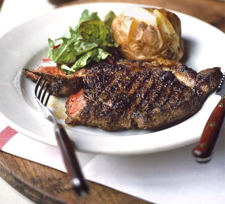 Porcini-rubbed steak