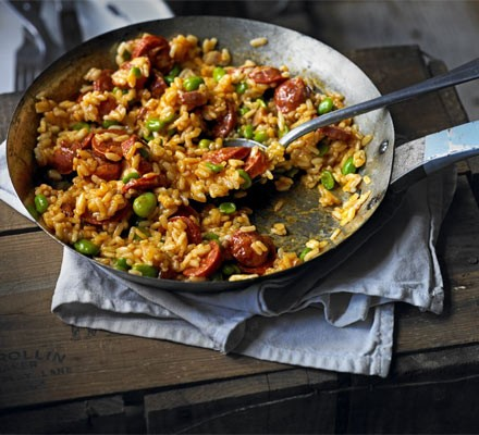Chorizo & broad bean risotto