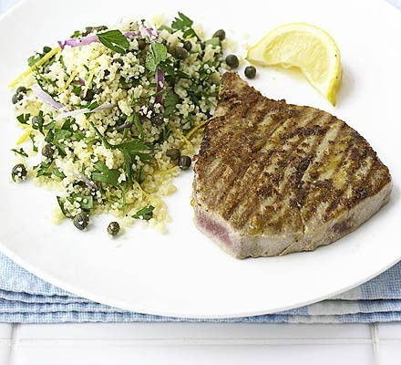 Hot mustard tuna with herby couscous
