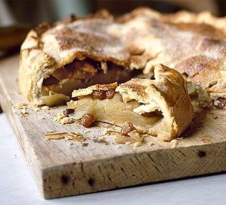 Deep-filled Bramley apple pie