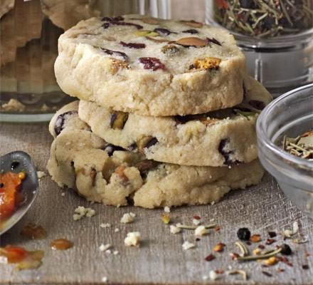 Pistachio & cranberry cookies stack with crumbs