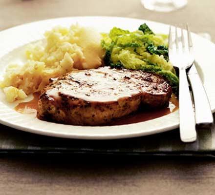 Pork steaks with gin & coriander sauce
