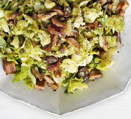 Smashed sprouts mash with chestnuts