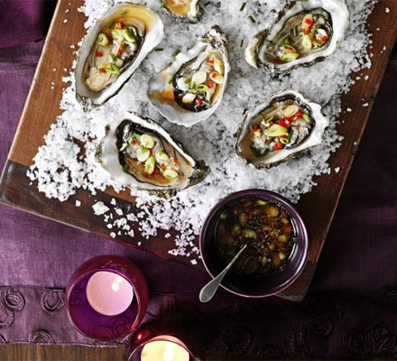 Tray of oysters filled with a chilli & ginger dressing