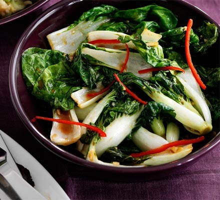 Bok choi with oyster sauce & chilli