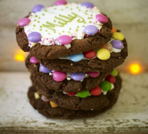 Chocolate biscuits with icing