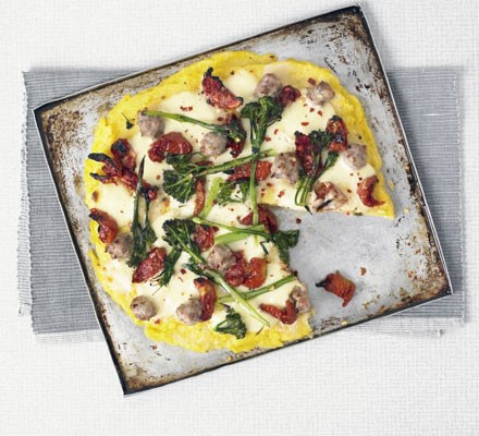 Polenta tart with sausage & broccoli