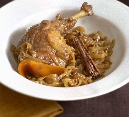 Tender braised duck with pomegranate molasses