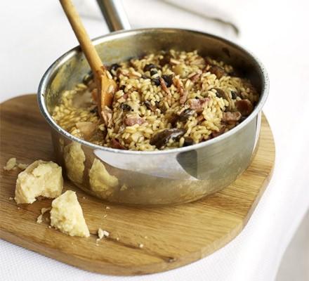 Bacon & mushroom risotto