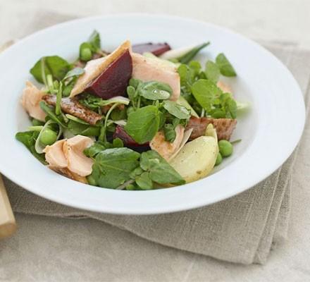 Warm salmon salad