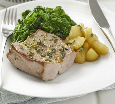Grilled pork with apple & sage