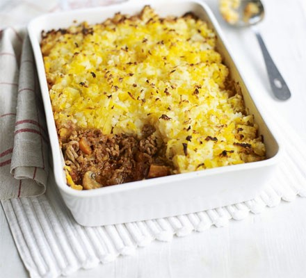 Swede & potato rösti-topped shepherd's pie