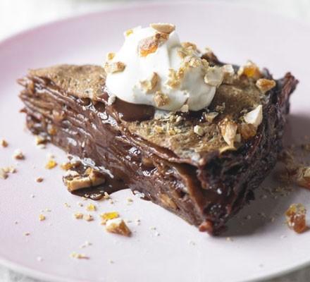 Chocolate praline pancake cake