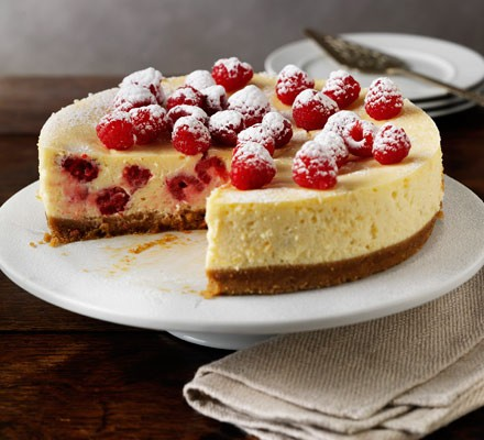 Baked raspberry & lemon cheesecake