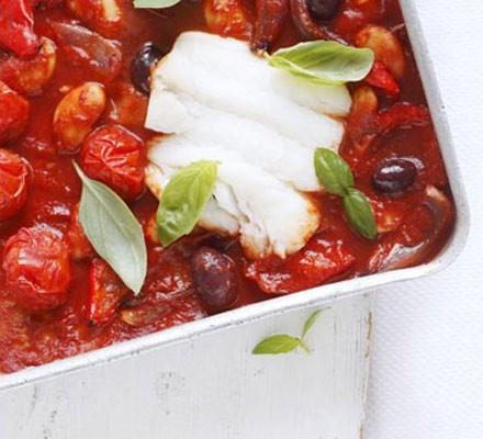 Cod & tomato traybake