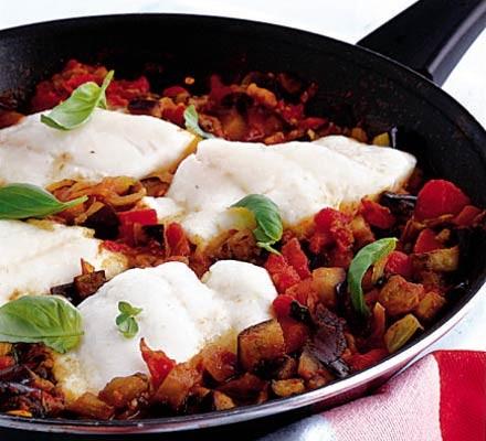 Haddock in tomato basil sauce