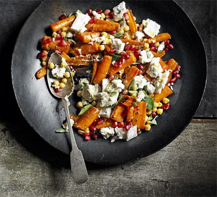 Roasted carrots with goat's cheese & pomegranate