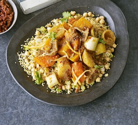 Vegetable couscous with chickpeas & preserved lemons