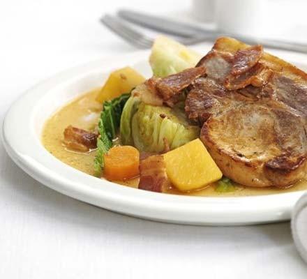 Irish coddled pork with cider