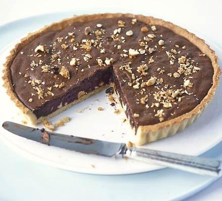 Chocolate & hazelnut praline tart