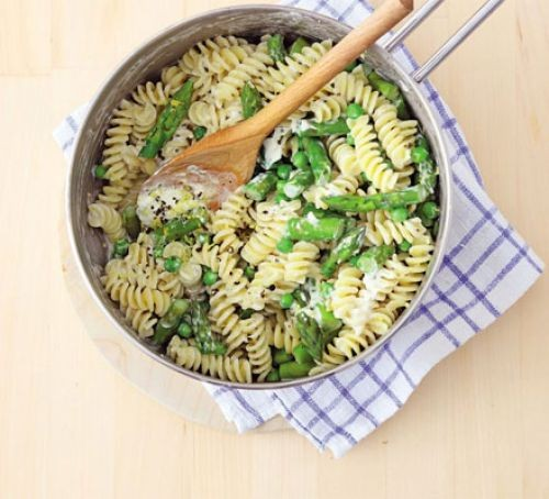 Pasta with asparagus in pan with spoon