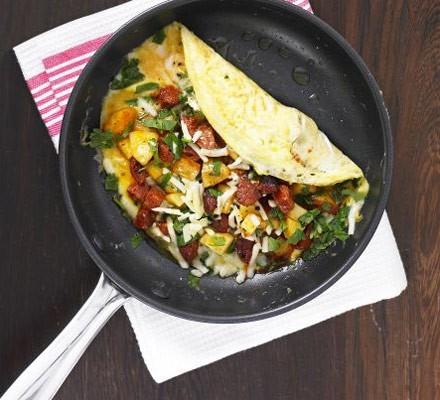 Chorizo, potato & cheese omelette