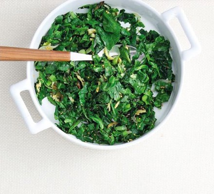 Spring cabbage with mustard seeds
