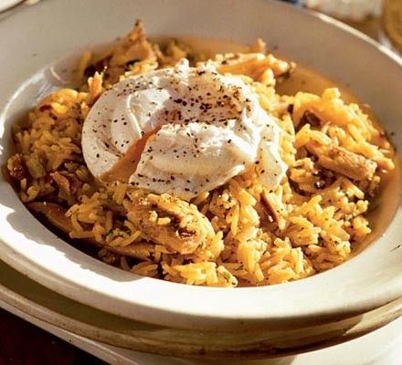 Spiced rice with kippers & poached eggs