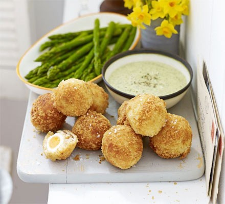 Mini smoked haddock Scotch eggs with asparagus dippers & watercress mayonnaise