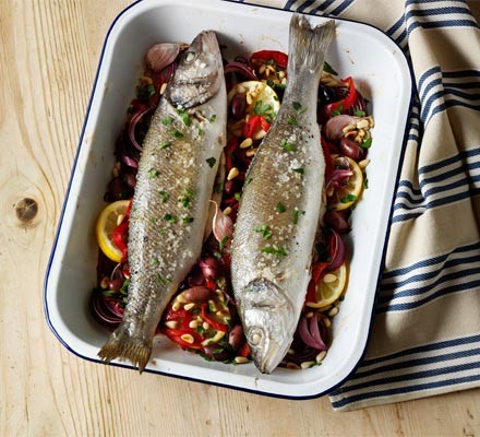 Italian Baked Sea Bass Recipe Bbc Good Food