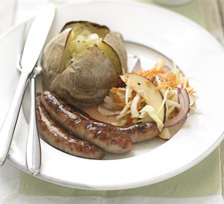 Sausages with fruity coleslaw