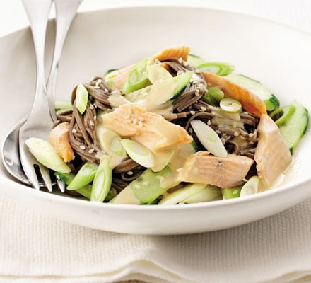 Smoked trout & cucumber sesame noodles