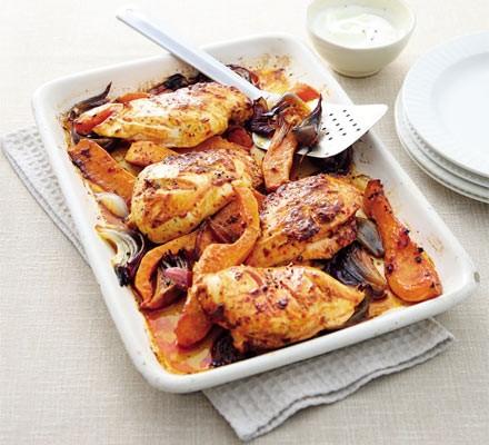 Harissa chicken & squash traybake